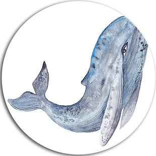 Whale Watercolor Graphic Art Print On Metal