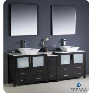 Torino 84 Double Modern Bathroom Vanity Set with Mirror