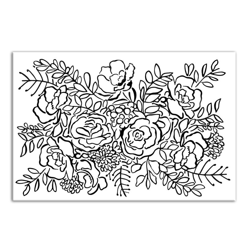 bungalow rose rose bush sketch drawing print on wrapped canvas