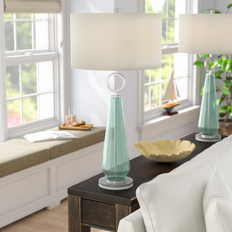 Beachcrest Home Jaylah Transitional Sea Glass Acrylic and Metal 36 ...