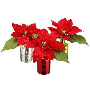 velvet poinsettia centerpiece in decorative vase set of 3