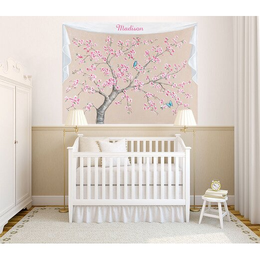 Oopsy daisy cherry blossoms and butterflies wall mural for Daisy fuentes wall mural