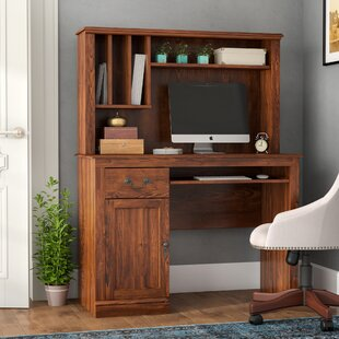with foter hutch explore wood desk and computer