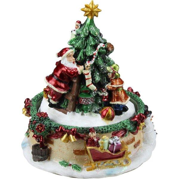 northlight animated santa claus and christmas tree winter scene rotating music box reviews wayfair - Animated Christmas Scene Decorations