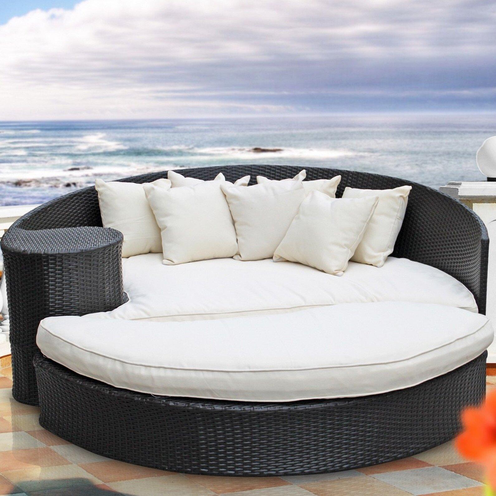 Brayden Studio Greening Outdoor Daybed With Ottoman U0026 Cushions U0026 Reviews |  Wayfair