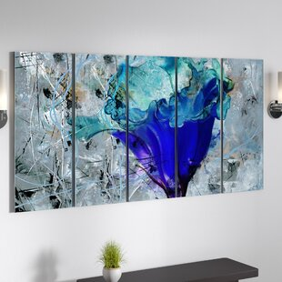 U0027Painted Petals LXu0027 5 Piece Graphic Art On Canvas Set