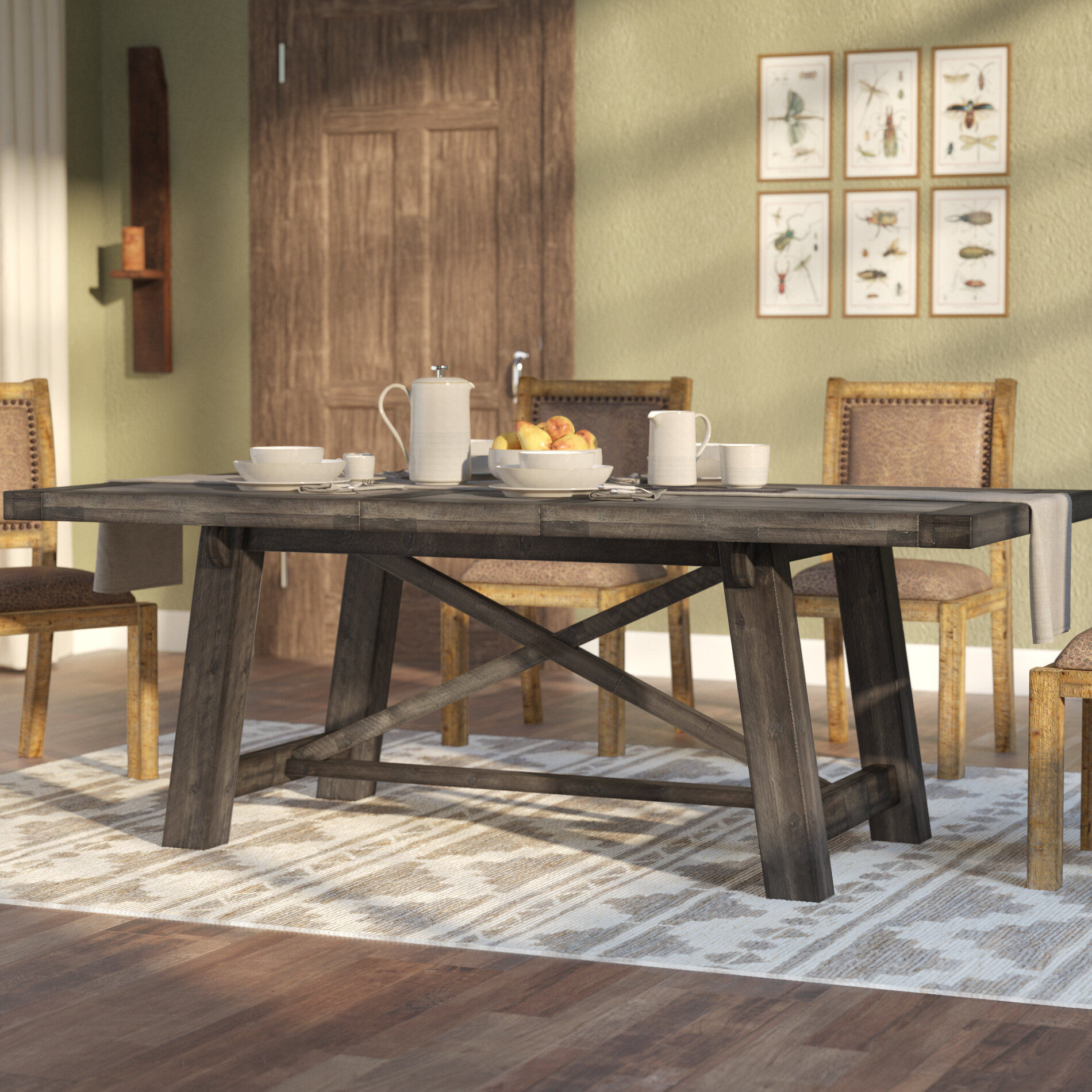 Colborne extendable solid wood dining table reviews birch lane