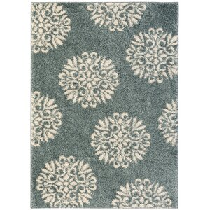 Cowden Exploded Medallions Woven Bay Blue Area Rug