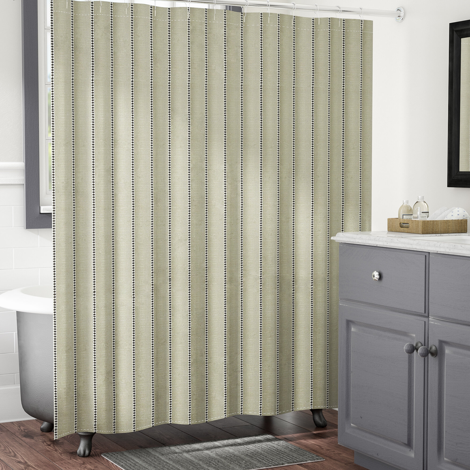 Gracie Oaks Taghkanic Stripe Shower Curtain Reviews