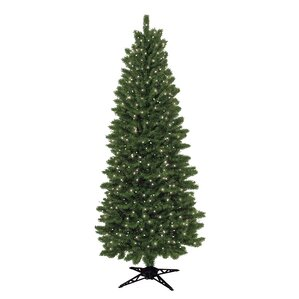 7 green spruce artificial christmas tree with 450 clear lights - Skinny Christmas Trees