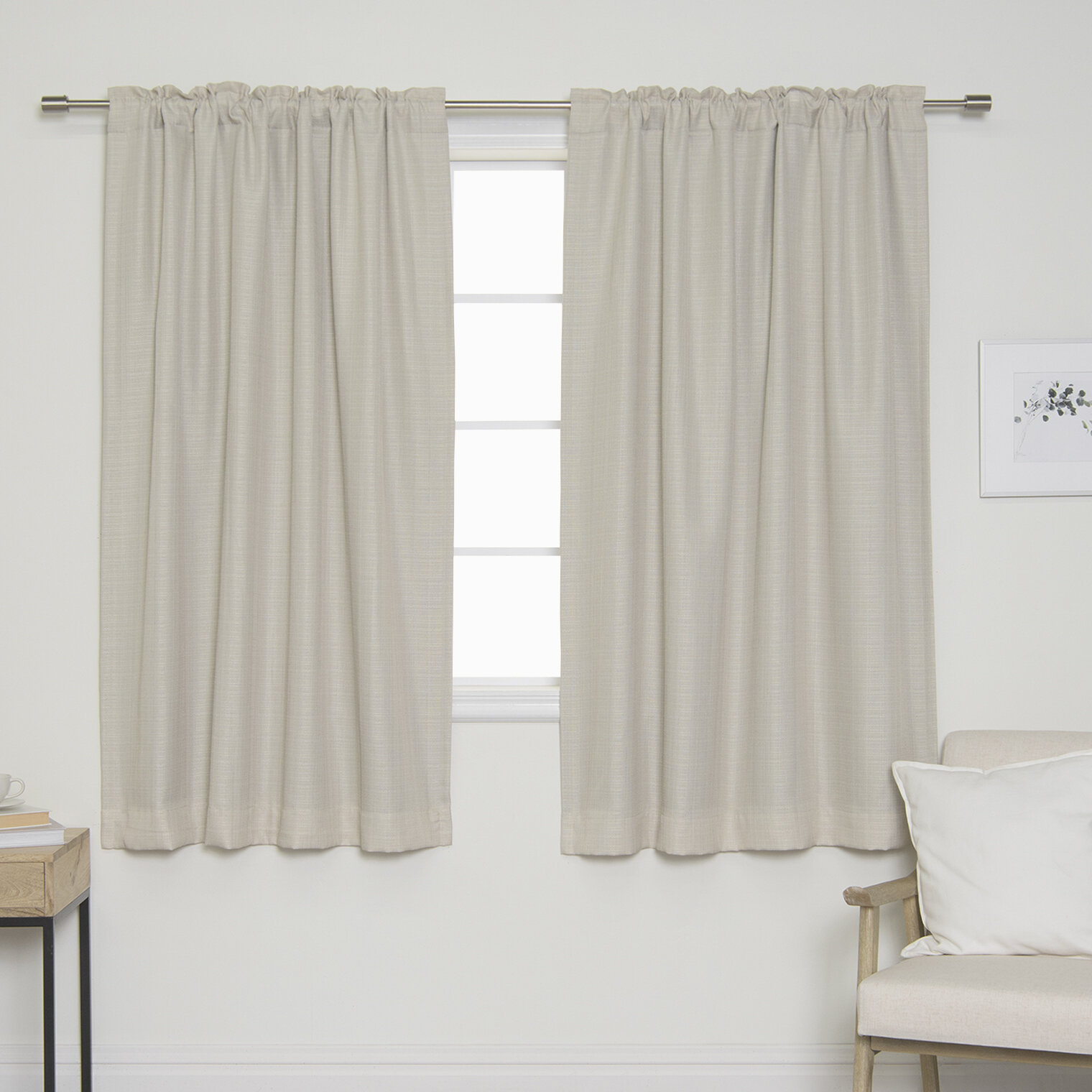 Gracie Oaks Vivan Woven Faux Linen Solid Blackout Back Tab Top Curtain Panels Reviews Wayfair