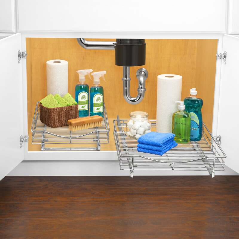 Lynk Professional® Roll Out Cabinet Organizer   Pull Out Under Cabinet  Sliding Shelf