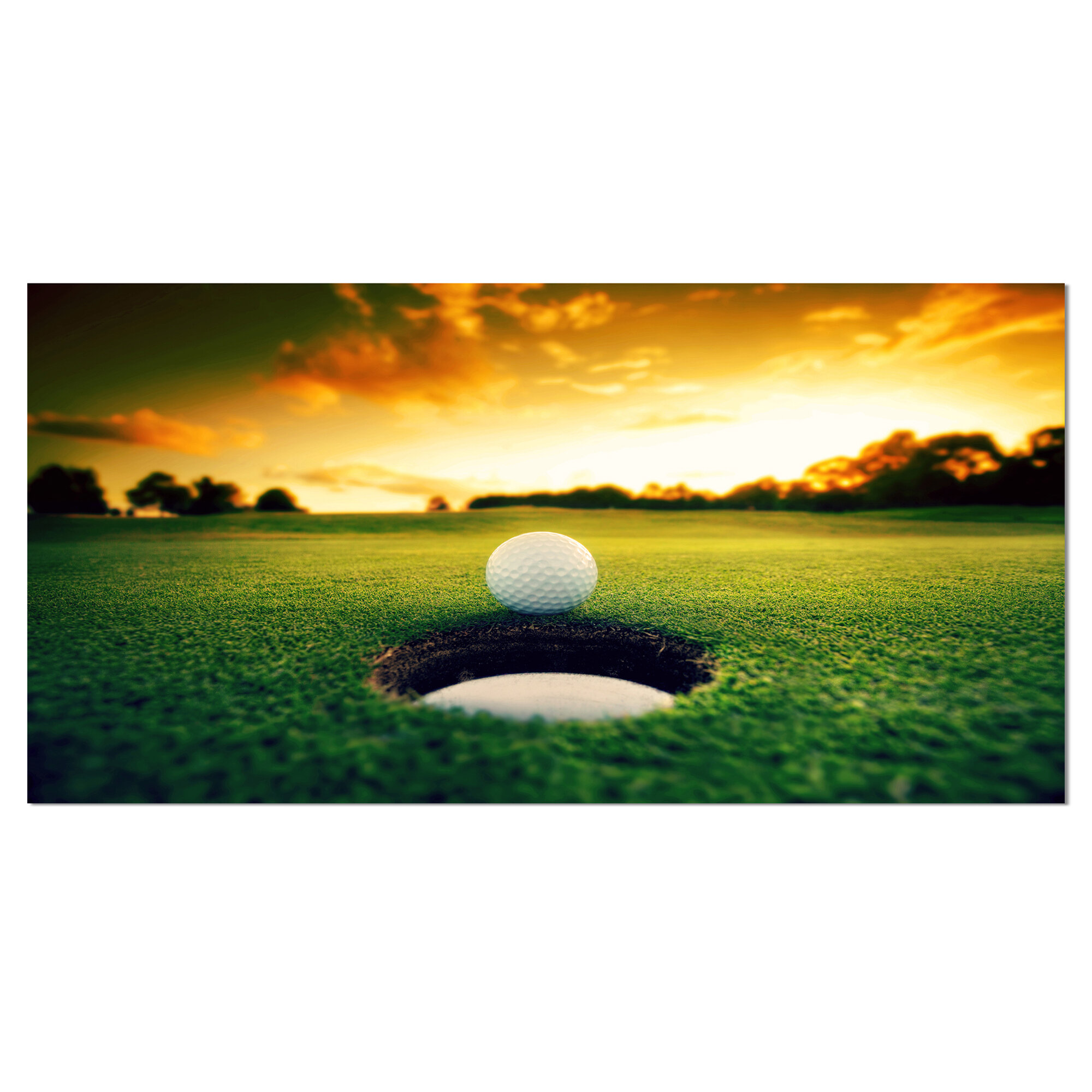 DesignArt \'Golf Ball Near Hole\' Photographic Print on Wrapped Canvas ...