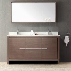 Fresca Allier 60 Double Modern Bathroom Vanity Set With Mirror
