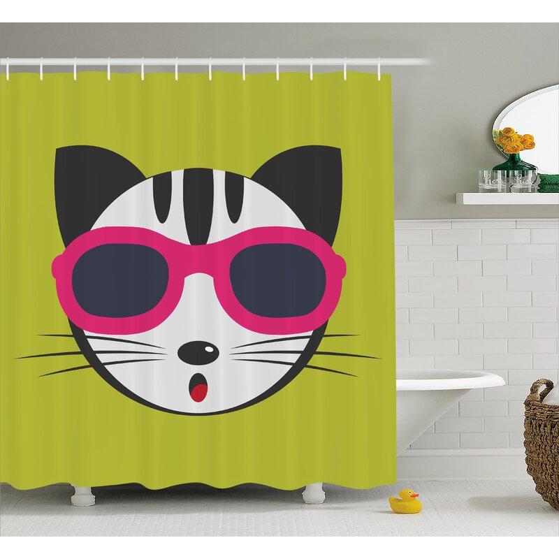 Everly Ethnic Boho Cute Kitten Shower Curtain