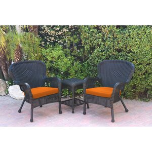 Windsor Wicker 3 Piece Lounge Seating Group with Cushions