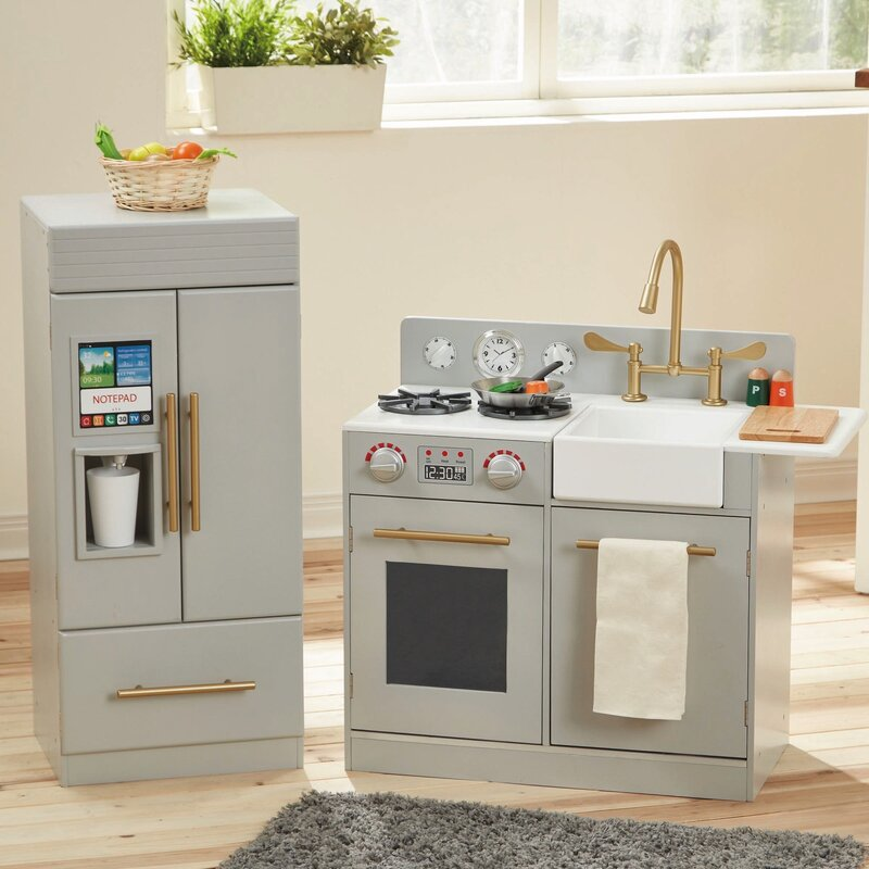 Teamson kids 2 piece urban adventure play kitchen set for Kitchen setting pictures