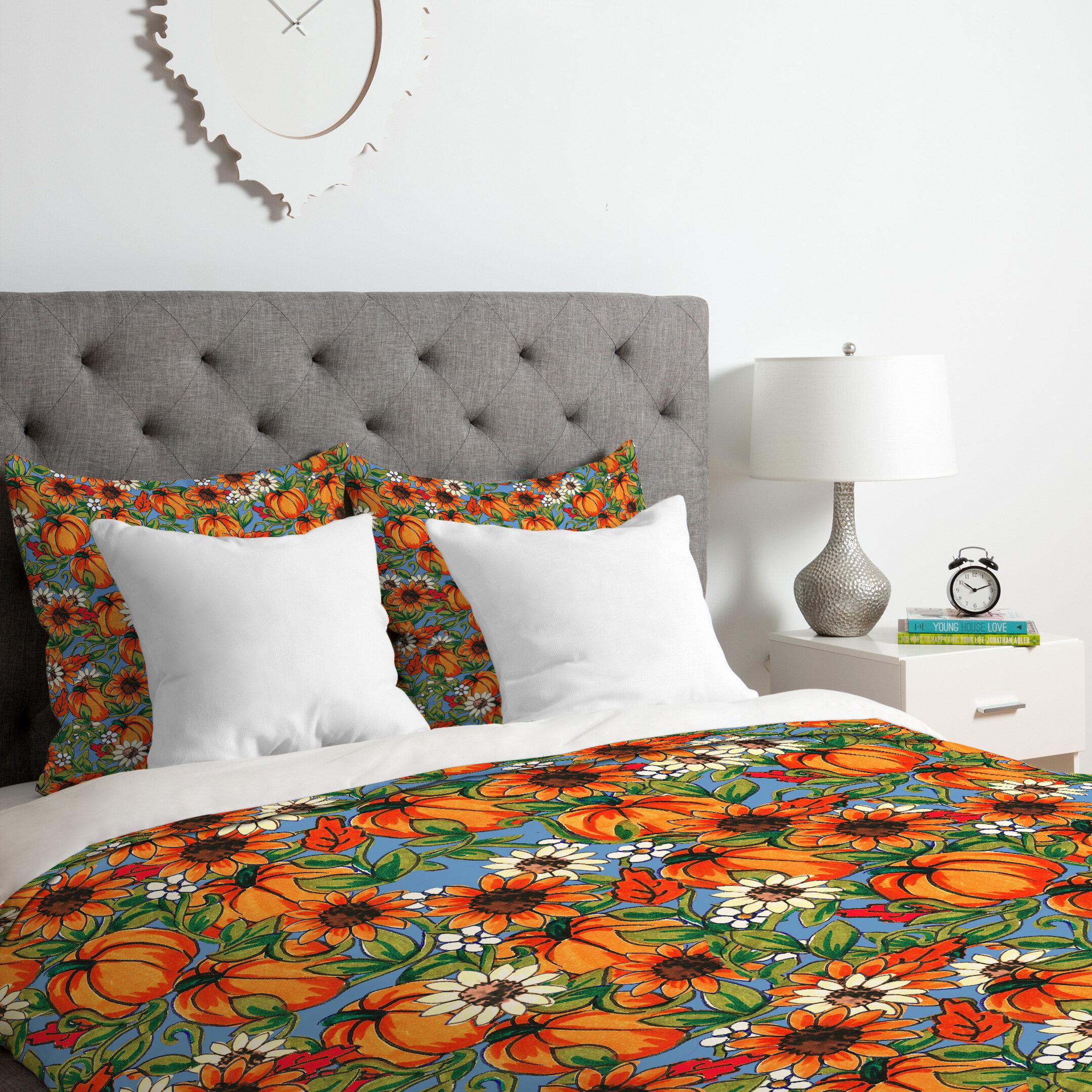 east urban home pumpkin harvest duvet cover set wayfair. Black Bedroom Furniture Sets. Home Design Ideas