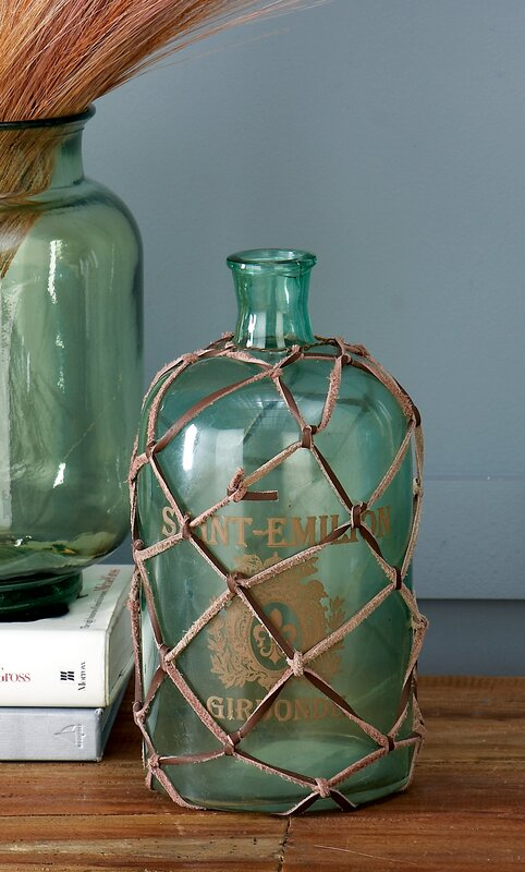 Cole grey glass bottle table vase reviews wayfair for Decor containers coles