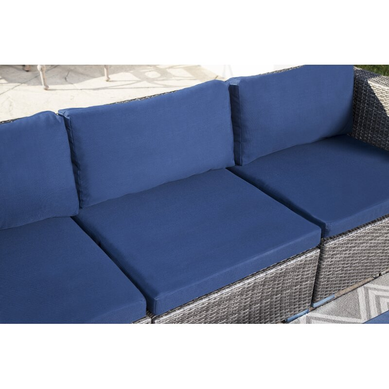 Ostrowski Outdoor Wicker Patio Sectional With Cushions