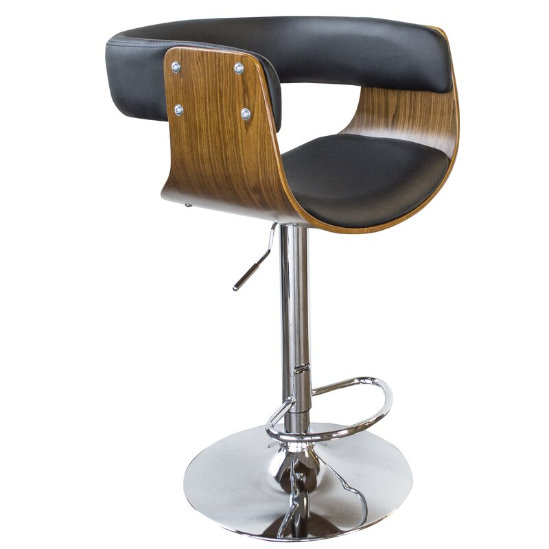 Merveilleux Bent Wood Faux Leather Adjustable Height Swivel Bar Stool