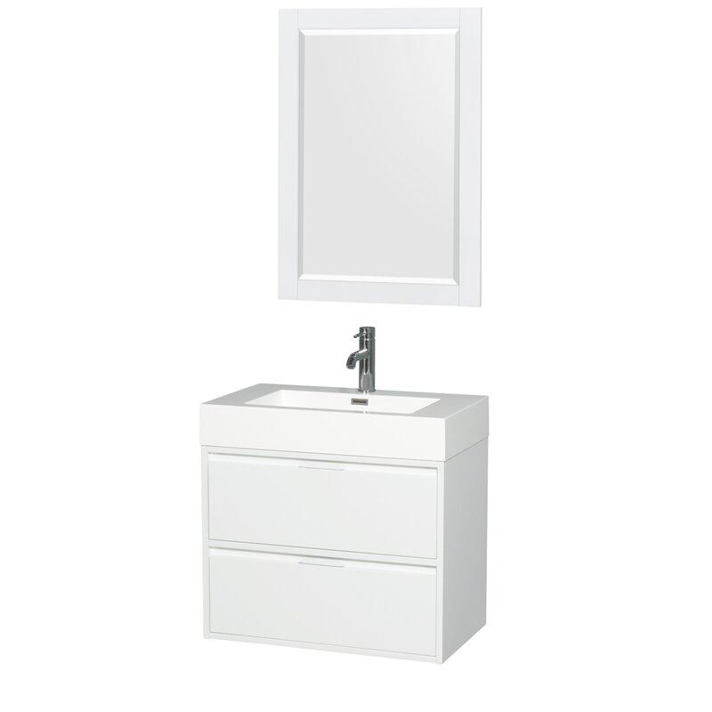 Daniella 29 Single Glossy White Bathroom Vanity Set With Mirror