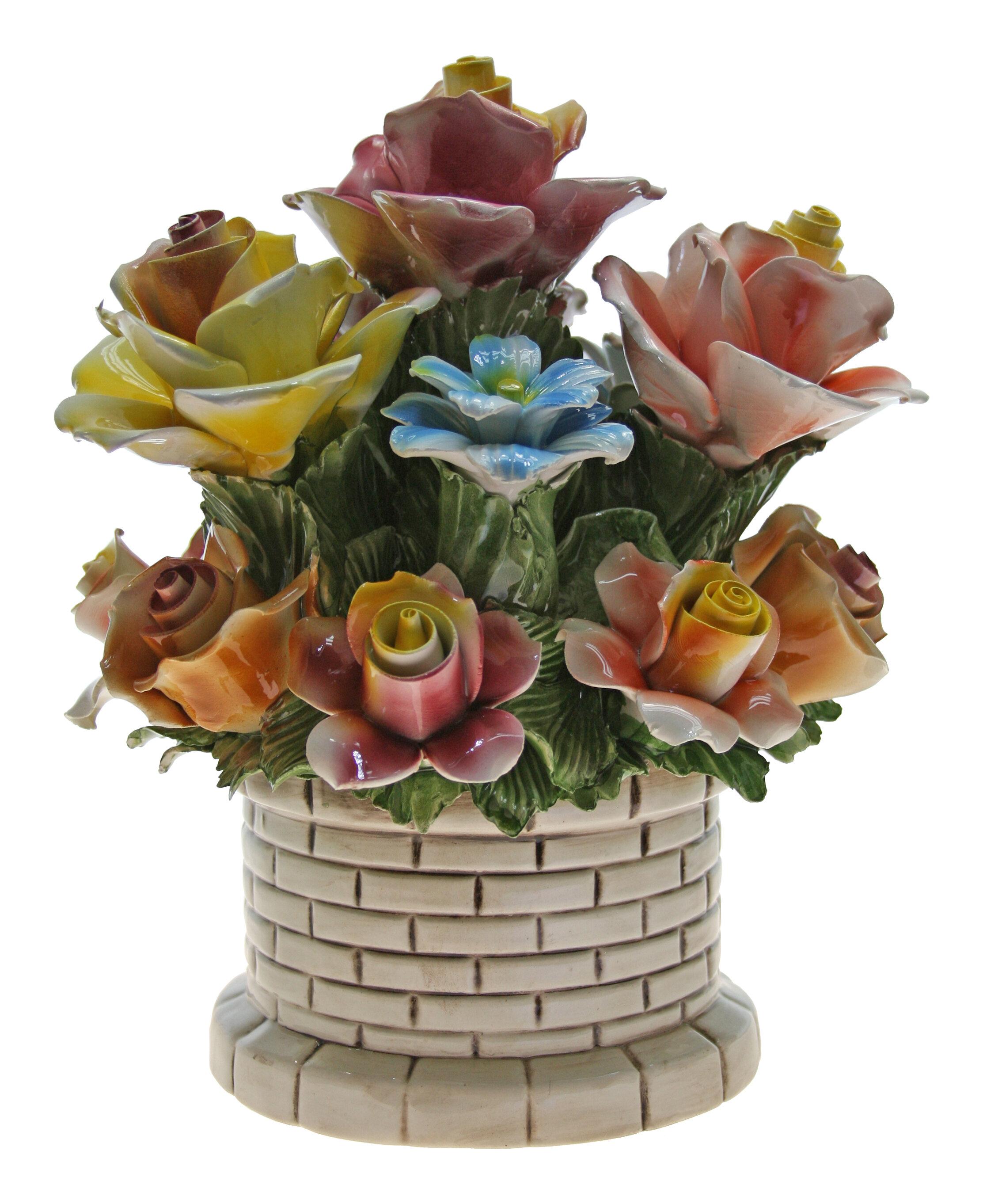 August grove round brick flower bouquet in pot wayfair izmirmasajfo