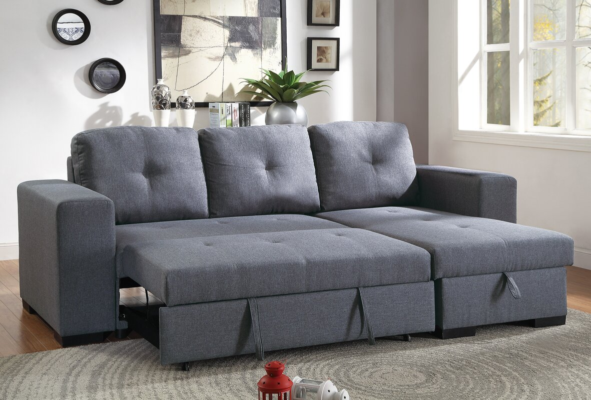 Ivy Bronx Buchman Linen-like Reversible Sectional with ...
