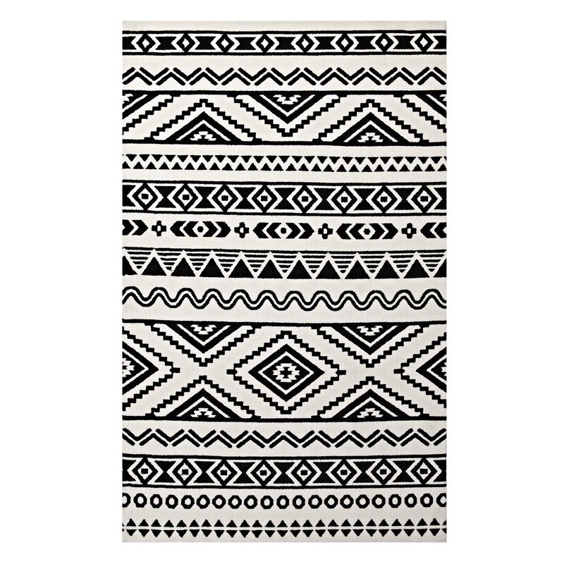 Ivy Bronx Freedman Geometric Moroccan Tribal Black White