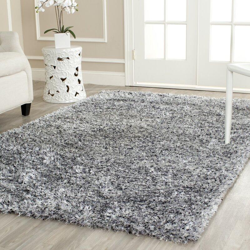 Shag Area Rugs wade logan kenneth gray/black shag area rug & reviews | wayfair