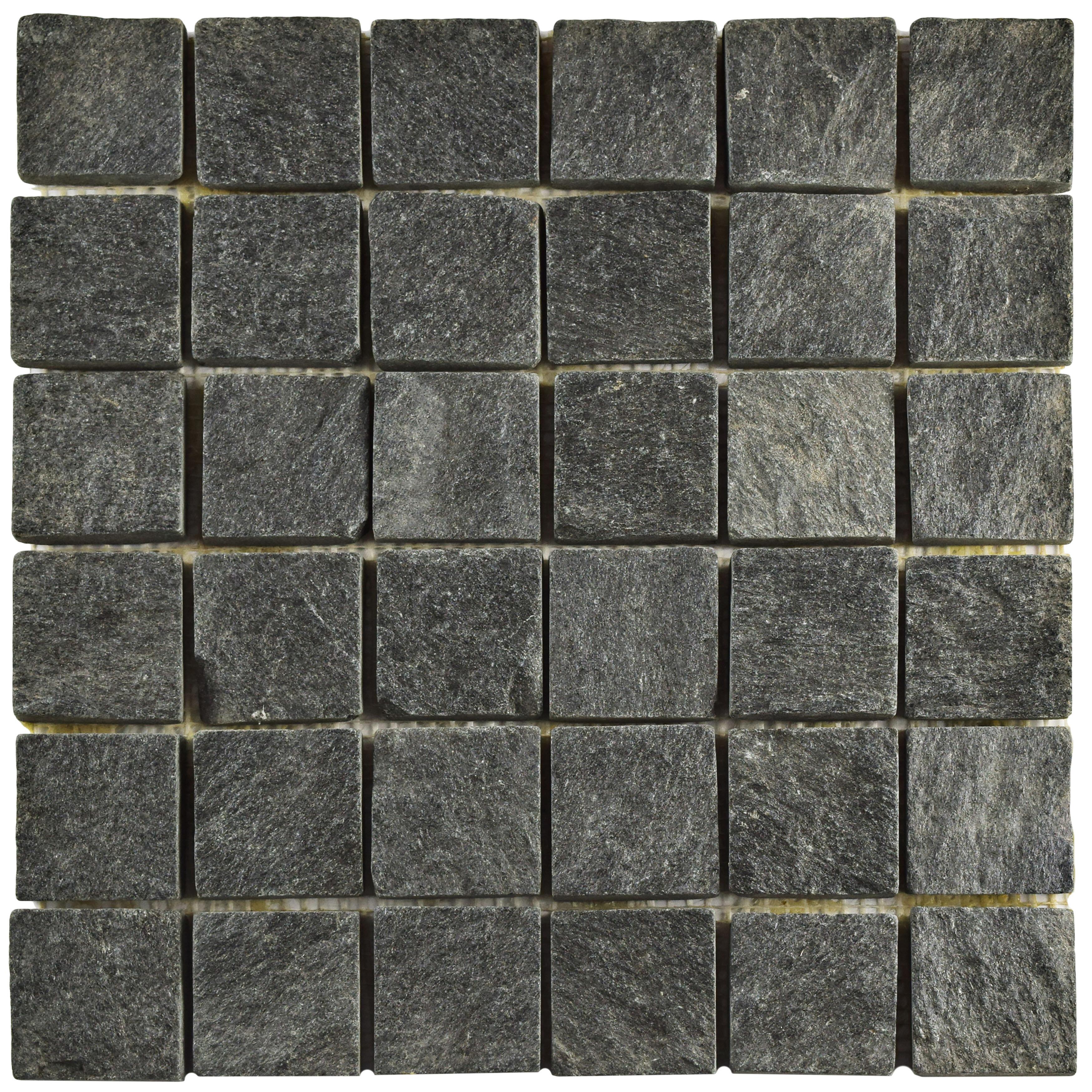 Elitetile Peak Quad Quartzite 1 88 X Slate Mosaic Tile In Black Reviews Wayfair