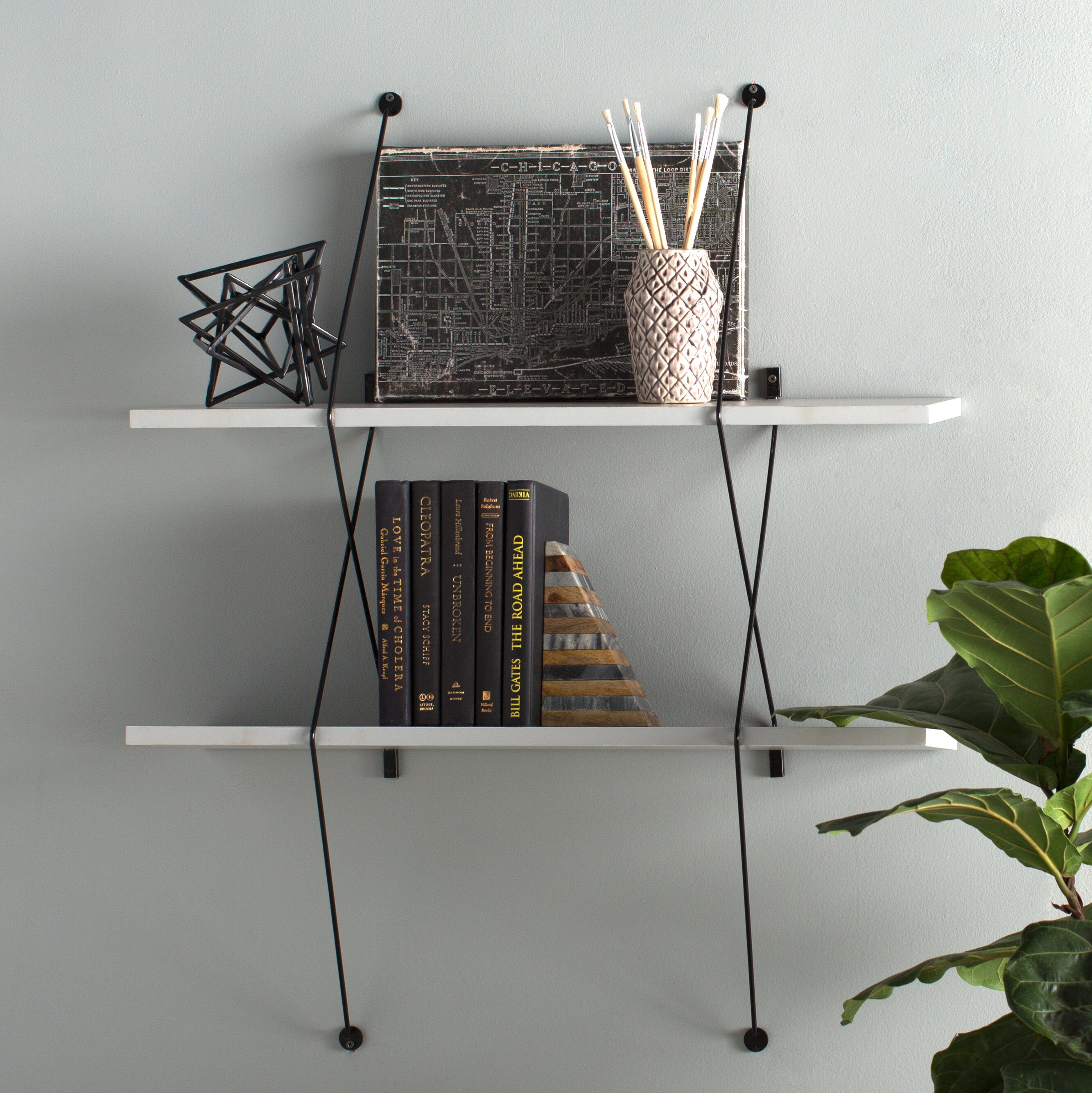 Zipcode Design Shaea 2 Shelf Shelving System with Wire Bracket ...
