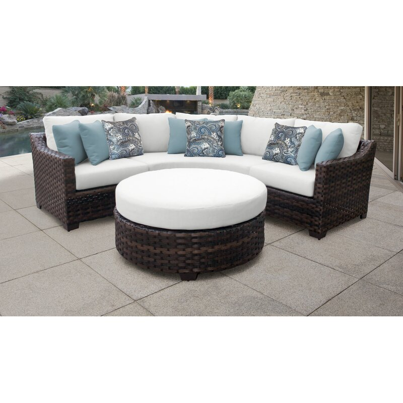 Kathy Ireland Homes Gardens River Brook 4 Piece Outdoor Wicker Patio Furniture Set 04b