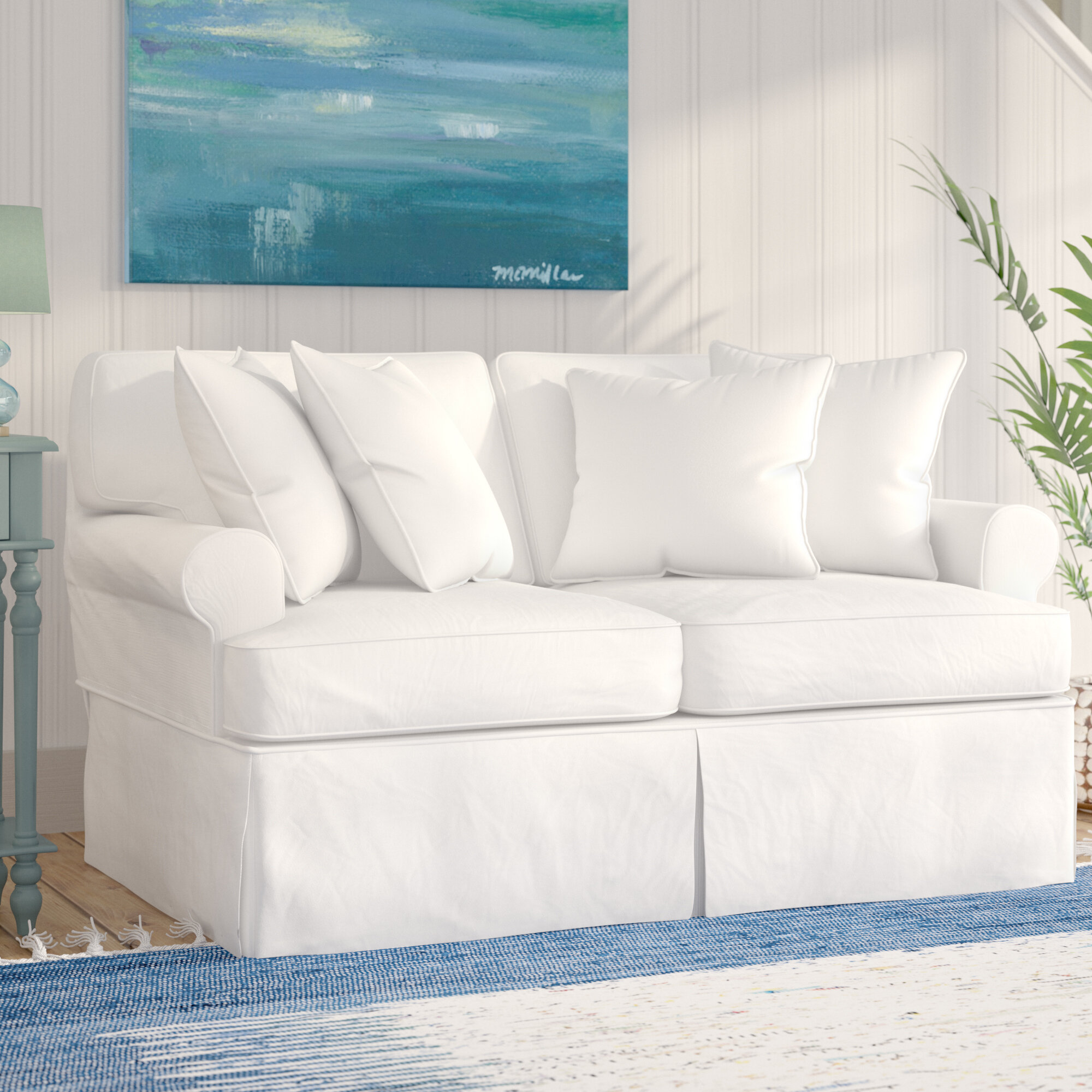 Beachcrest Home Coral Gables T-Cushion Loveseat Slipcover & Reviews ...