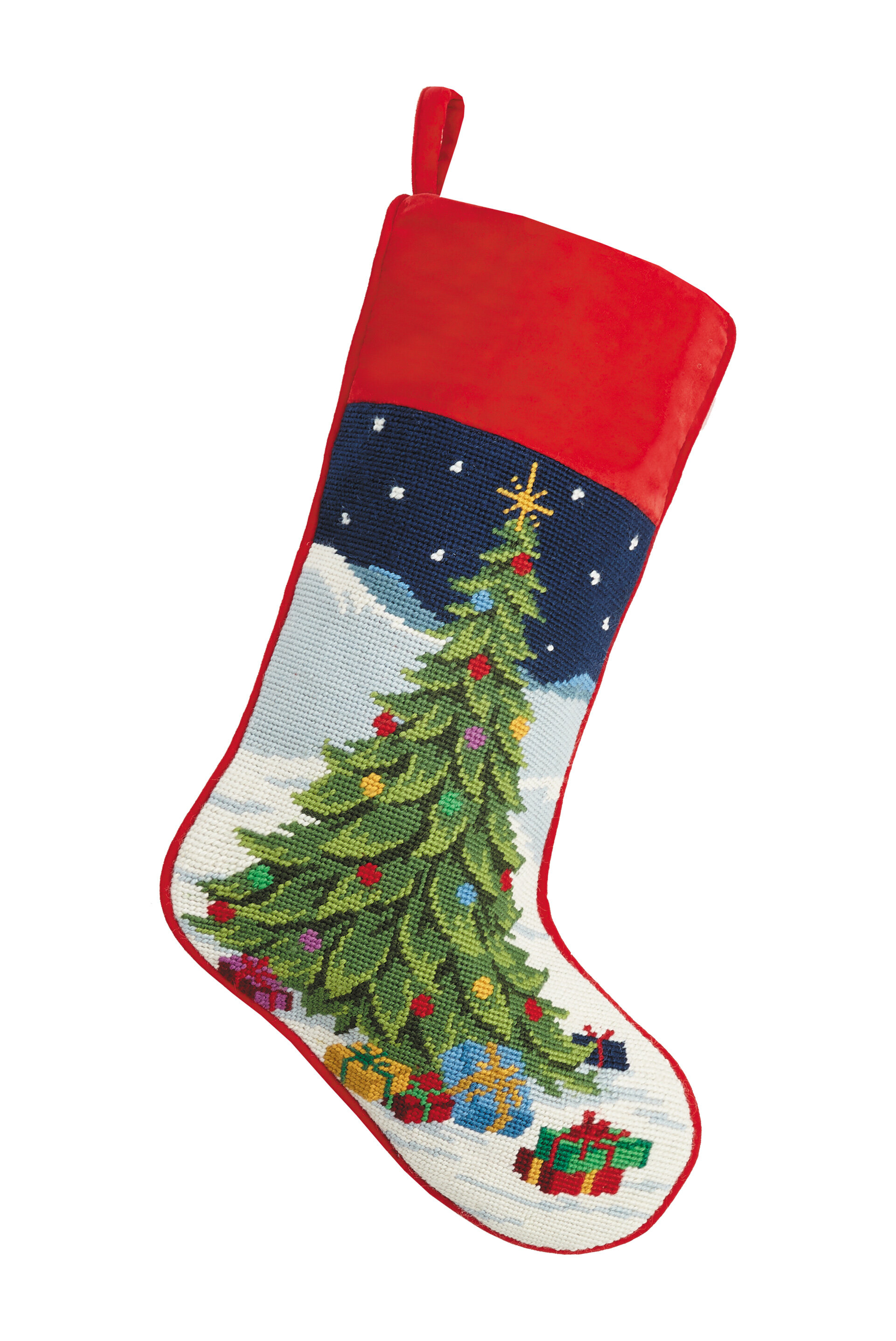 The Holiday Aisle Casteel Tree with Presents Needlepoint Stocking | Wayfair