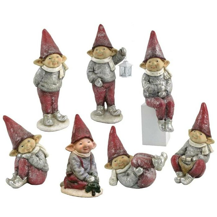 Christmas Elves.7 Piece Red Hat Christmas Elves Set