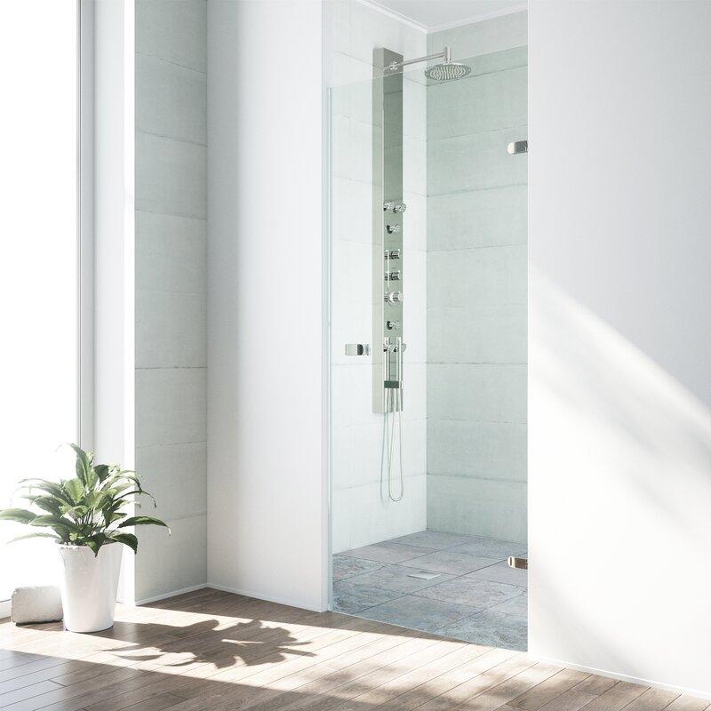 Tempo 70\  x 24\  Hinged Frameless Shower Door  sc 1 st  Wayfair & VIGO Tempo 70\