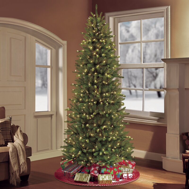 The Holiday Aisle 7.5' Green Slim Artificial Christmas Tree with 500 Clear  Lights with Stand & Reviews | Wayfair - The Holiday Aisle 7.5' Green Slim Artificial Christmas Tree With 500