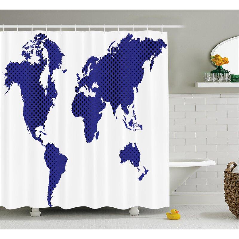 Berggren World Map Travel Holiday Shower Curtain
