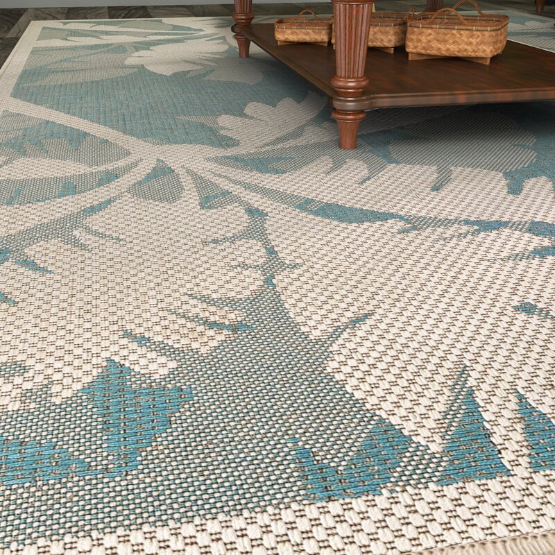 Beachcrest Home Odilia Coastal Flora Ivory Turquoise Indoor Outdoor Area Rug Reviews