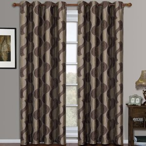 Woodard Jacquard Geometric Semi-Sheer Grommet Curtain Panels (Set of 2)