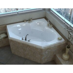 whirlpool tub. Curacao 58  x Corner Whirlpool Jetted Bathtub with Center Drain Tubs You ll Love Wayfair