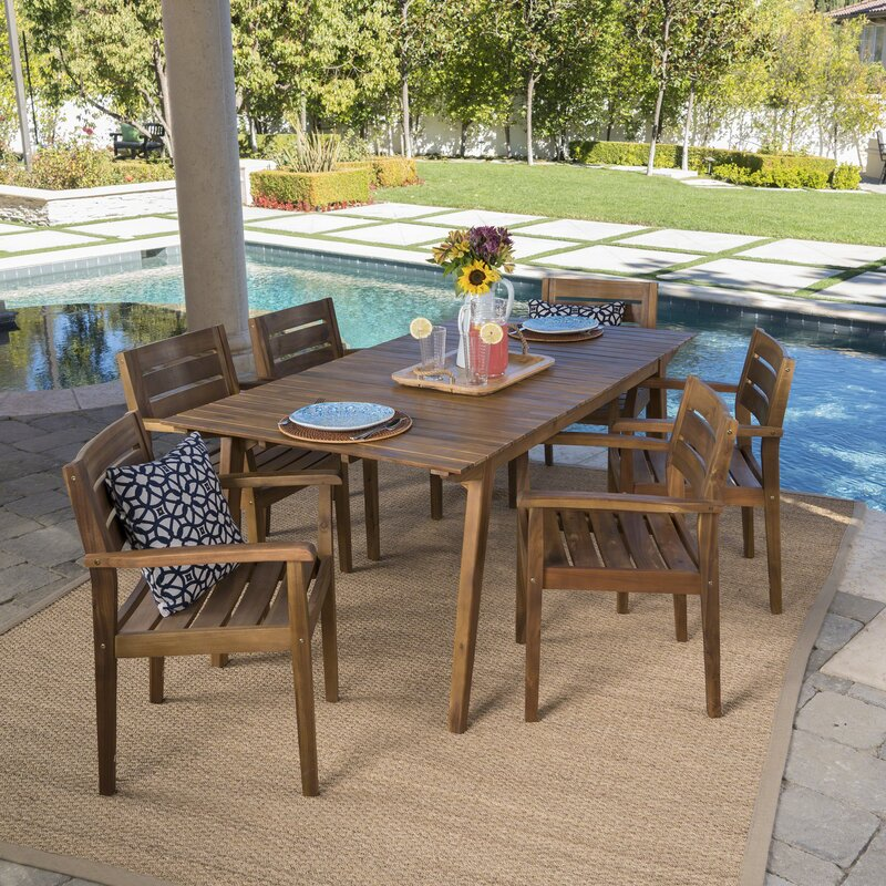 Cremeans Outdoor 7 Piece Dining Set