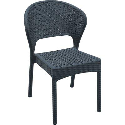 Brayden Studio Ketterman Stacking Patio Dining Chair (Set of 2) Color: Dark Gray