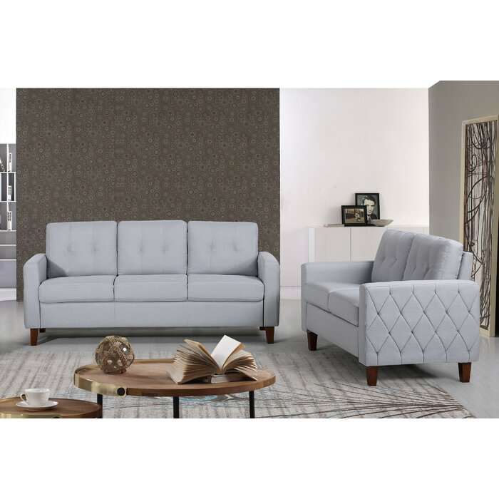Container Harrad Tufted Mid-Century 2 Piece Living Room Set ...