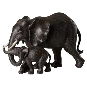 Mother and Baby African Elephant Figurine