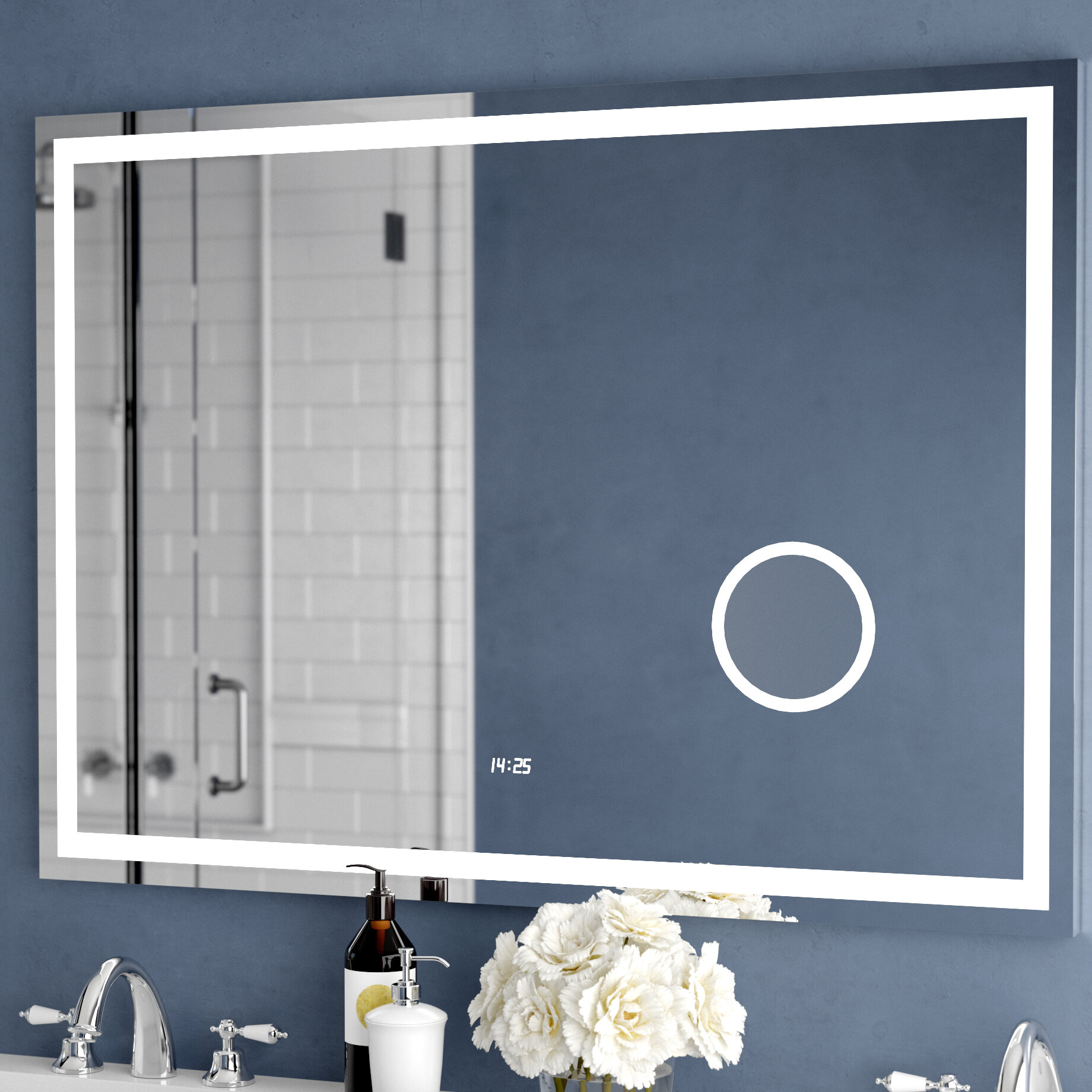 Astonishing Electric With Clock Bathroom Vanity Mirror Beutiful Home Inspiration Xortanetmahrainfo