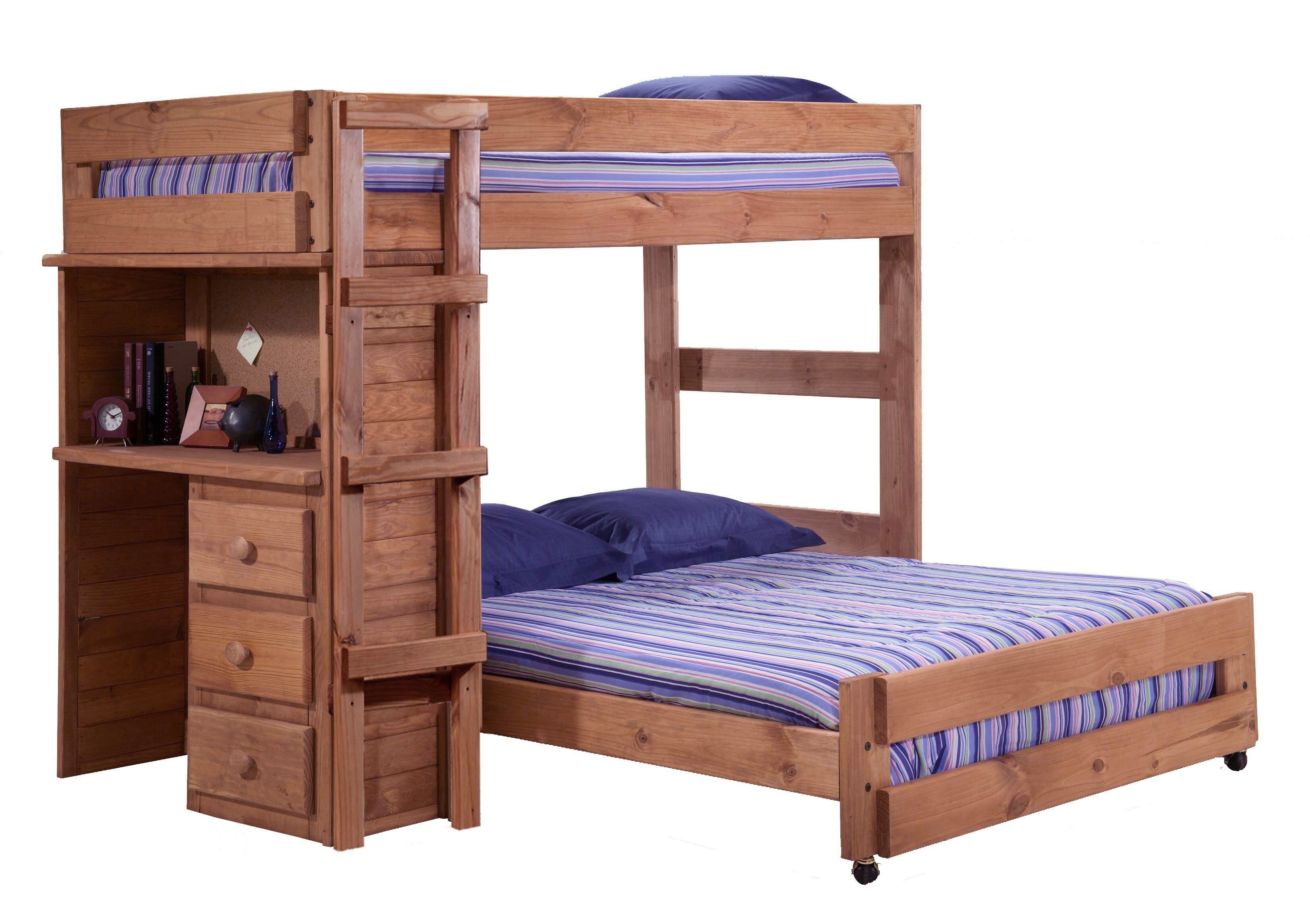 Harriet Bee Chumbley Twin Over Full L Shaped Bunk Bed With Desk Wayfair