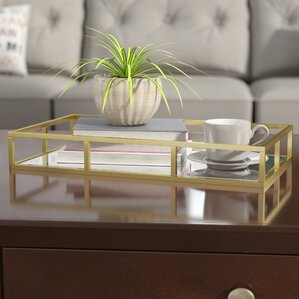 Dennard Rectangular Glass And Metal Vanity Tray