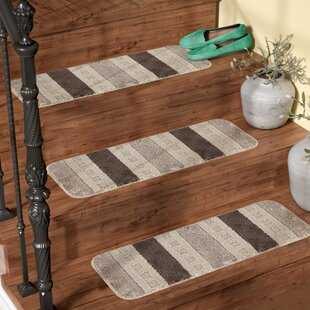 Attrayant Carreras Striped Gray Stair Tread (Set Of 7)